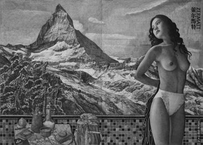 Zermatt | Dessin au graphite | 140x100cm